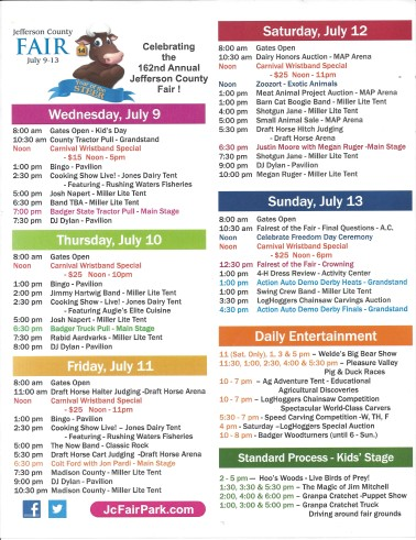 2014 JefCo Fair Schedule