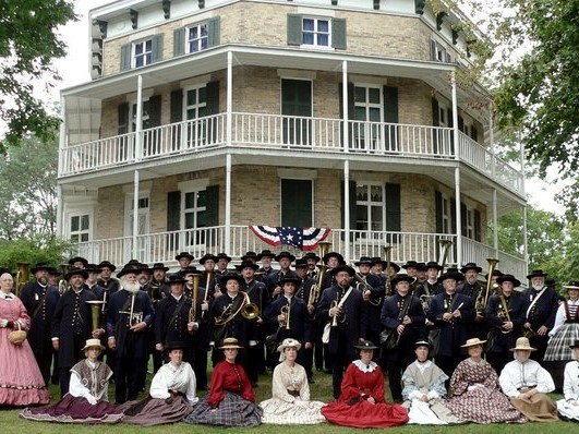 1st Brigade Band in front of Octagon House