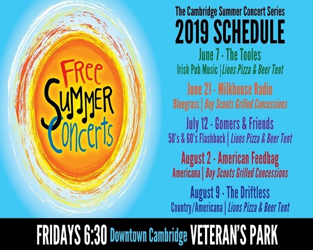 Poster for Cambridge Arts Council Summer Concerts in Cambridge, WI