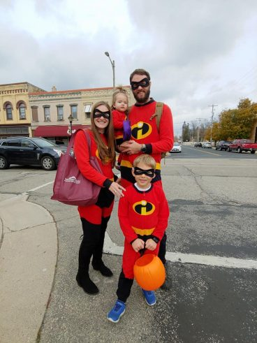 Family in matching costumes