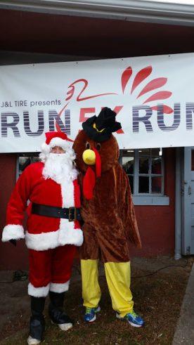 Santa and Turkey mascot at 5k race