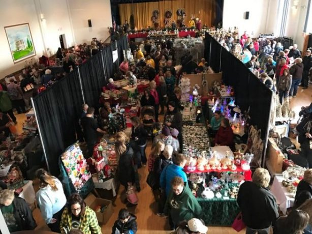 Crowd of people attending a craft fair