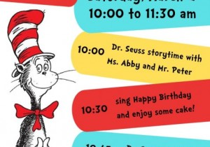 Flyer for Dr. Seuss party with a Cat in the Hat image