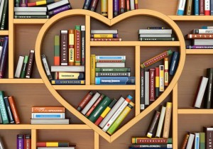 Bookshelf of books with a heart