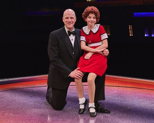 Annie with Daddy Warbucks in ANNIE at The Fireside