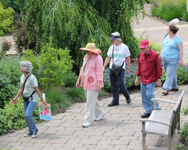 adults walking through garden