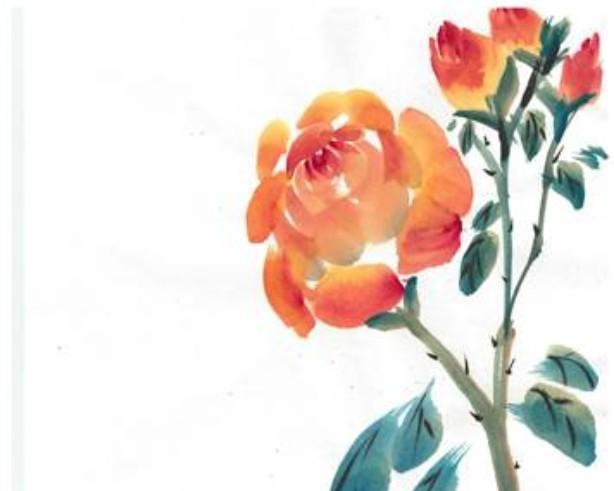 chinese brush painted flower