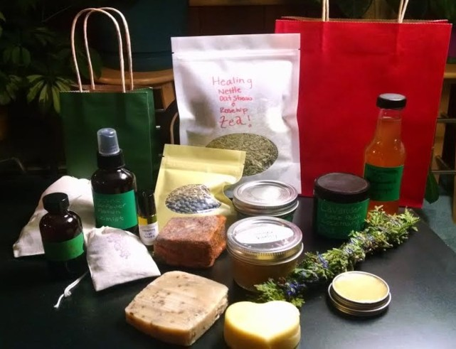 handmade soap, tea, spray, oils