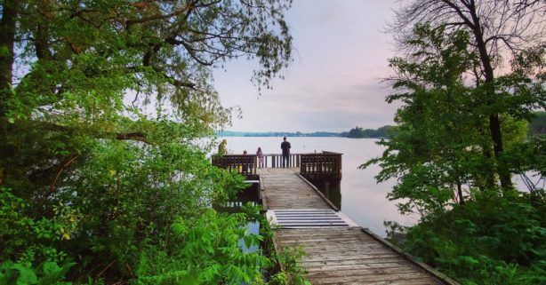 Fishing from a pier on Whitewater Lake: Whitewater, WI
