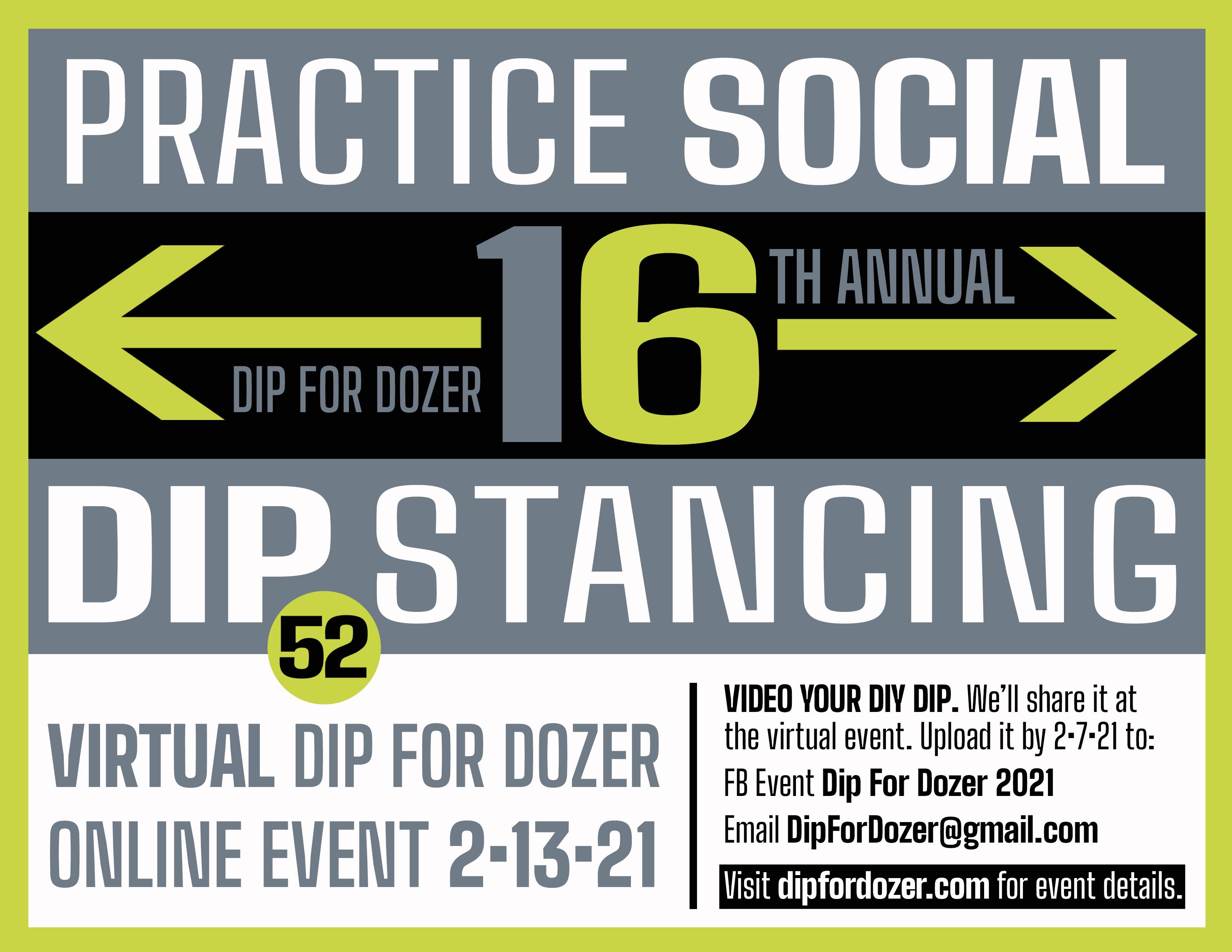 Dip for Dozer 2021 poster Practice Social Dip-stancing